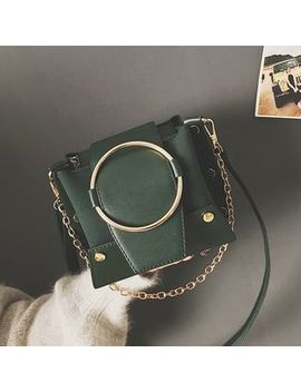 Shinian   Chained Faux Leather Crossbody Bag by Shinian
