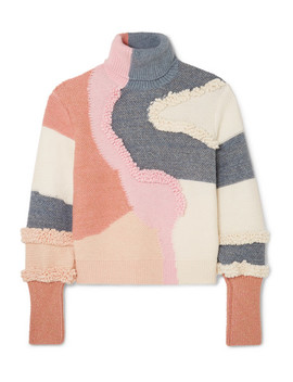 Patchwork Cotton Blend Turtleneck Sweater by Peter Pilotto