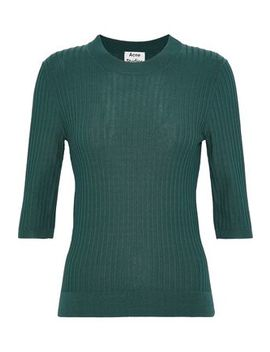 Iza Ribbed Knit Cotton Blend Top by Acne Studios