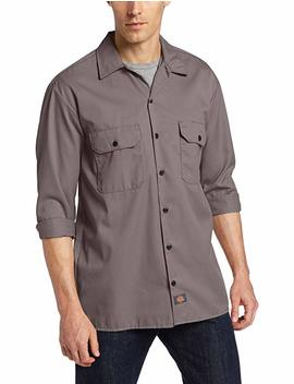 Dickies Men's Long Sleeve Work Shirt Stain Release Wrinkle Resistant Cotton/Poly by Dickies