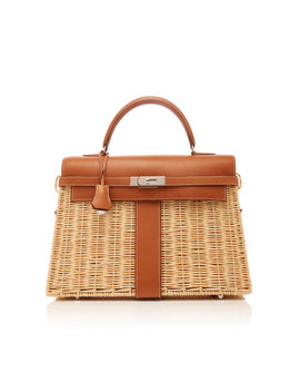 Hermès 35cm Fauve Barenia Leather And Osier Wicker Limited Edition Kelly Picnic by Hermès Vintage