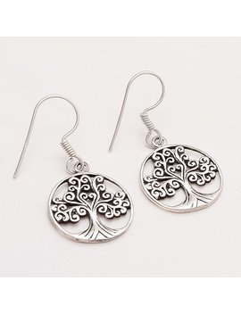925 Sterling Silver Tree Of Life Earrings Women Vintage Carved Fine Jewelry Gifts Handmade Designer Unique Christmas Charm Gifts Jewelry Aa by Etsy