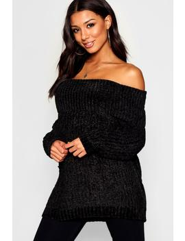 Chunky Fisherman Knit Bardot Jumper by Boohoo