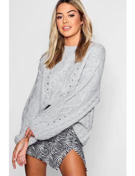 Petite Oversized Cable Knit Balloon Sleeve Jumper by Boohoo