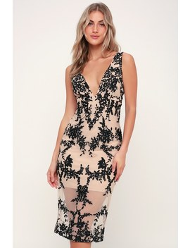 Embroidery Nude And Black Embroidered Midi Dress by Bardot