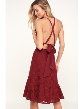 Love Like You Mean It Wine Red Backless Lace Midi Dress by Lulus
