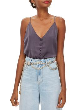 Satin Button Through Cami Top by Topshop