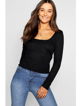 Lettuce Hem Scoop Long Sleeve Rib Top by Boohoo