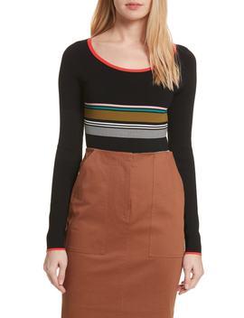 Diane Von Furstenberg Stripe Knit Bodysuit by Dvf