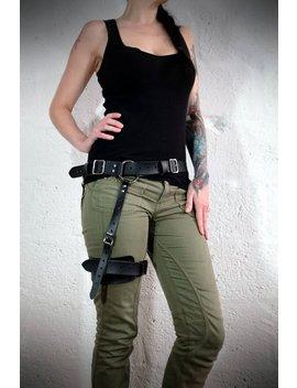 Oberschenkel Lederharness Für Männer Und Frauen   Schwarz   29 Bis 45 Zoll Taille Passen Siehe Beschreibung Für Weitere Größen, Apokalypse, Steampunk, Cosplay by Etsy