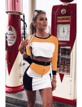 Uk Women 2 Piece Bodycon Two Piece Crop Top And Skirt Set Zipper Dress Party by Ebay Seller