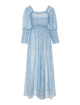 Linaria Smocked Floral Maxi Dress by Ganni