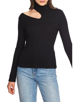 Shoulder Cutout Mock Neck Rib Knit Top by 1.State