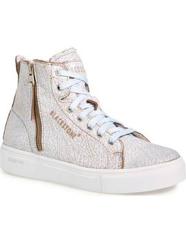 'll78' Crackled High Top Platform Sneaker by Blackstone