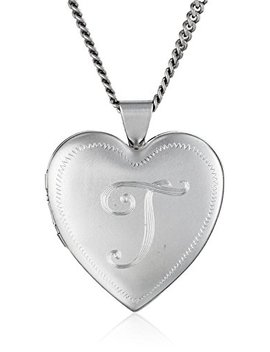 Heart Shaped Rhodium Plated Brass Locket Necklace by Amazon Collection