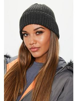 Dark Grey Ribbed Beanie Hat by Missguided