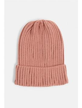 Rose Dark Grey Ribbed Beanie Hat by Missguided
