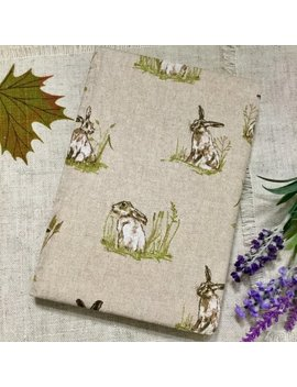 A5 Notebook / Hare Fabric Covered Notebook / Linen Fabric Notebook / Hares /Hare Gifts / Hare Notebook by Etsy