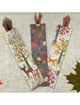 Boookmarks / Handmade Bookmarks / Woodland Bookmarks / Fabric Covered Bookmarks / Woodland Creatures by Etsy