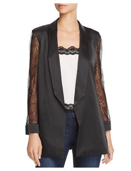 Liv Lace Sleeve Silk Blazer by Cami Nyc