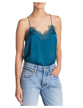 Lace Trimmed Navy Silk Top by Cami Nyc