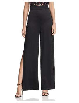 Miles Side Slit Wide Leg Silk Pants by Cami Nyc