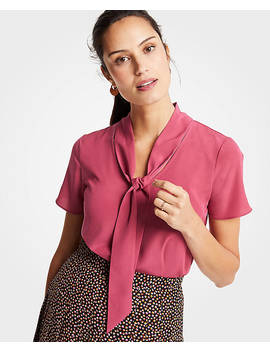 Mixed Tie Neck Tee by Ann Taylor