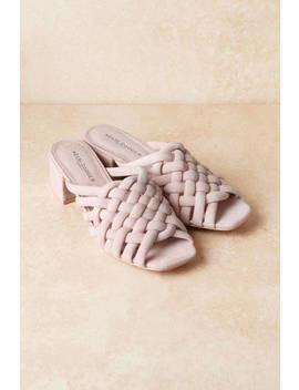 Kelsi Dagger Sky Pink Braided Suede Mules by Tobi