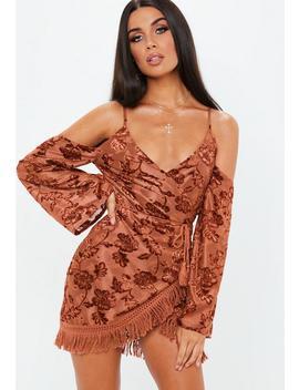 Rust Burnout Cold Shoulder Fringe Dress by Missguided