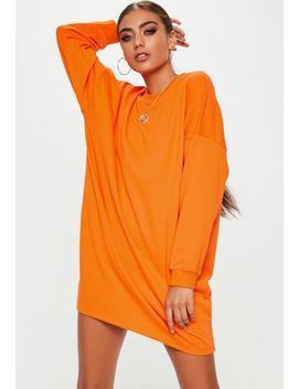 Orange Crew Neck Oversized Sweater Dress by Missguided