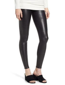 High Waist Faux Leather Leggings by Spanx®