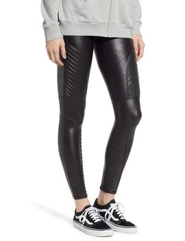 High Waist Faux Leather Moto Leggings by Spanx®