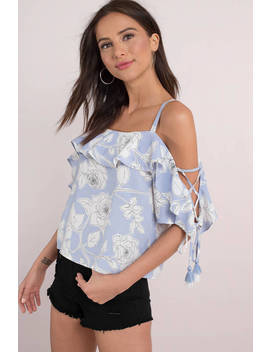 Moon River Reilly Light Blue Ruffled Blouse by Tobi