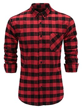 Emiqude Men's Flannel 100 Percents Cotton Slim Fit Long Sleeve Button Down Plaid Dress Shirt by Emiqude