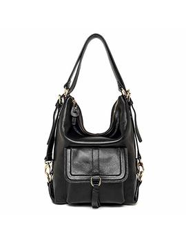 Sealinf Womens Top Handle Leather Shoulder Bag Convertible Backpack With Front Flap by Sealinf