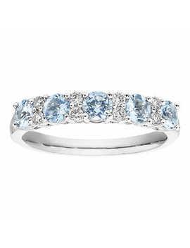 Round Aquamarine And Diamond Ring (0.15 Ctw) by Costco