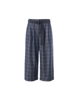 Ghery Plaid Stella Wide Leg Cropped Pants by Tibi
