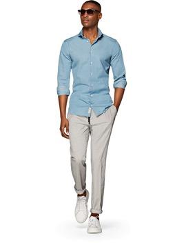 Blue Plain Denim Shirt by Suitsupply
