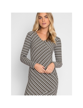 Be With You Stripe Bodycon Dress In Green by Wet Seal