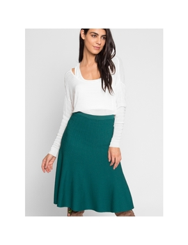 Rue Knit Trumpet Skirt In Green by Wet Seal