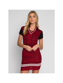 Game On Knit Hoodie Dress by Wet Seal