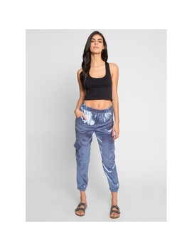 Coastal Satin Joggers In Blue by Wet Seal