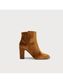 Ayla Bronze Velvet Ankle Boots by L.K.Bennett