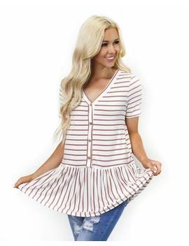 Tinaya Stripe Peplum Tunic by Cents Of Style
