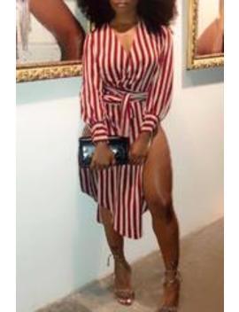 Roaso Fashion V Neck Striped Side Slit  Cotton Mid Calf Dress(With Belt) by Roaso