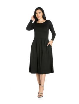 Long Sleeve Fit And Flare Midi Dress Long Sleeve Fit And Flare Midi Dress by 24seven Comfort Apparel 24seven Comfort Apparel