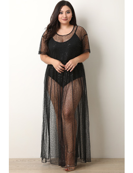 Sequins Semi Sheer Tulle Maxi Dress by Urbanog