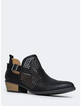 Milton Perforated Western Low Bootie by Zooshoo