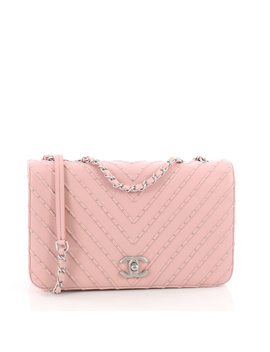 Pre Owned: Cc Clasp Flap Bag Studded Chevron Calfskin Medium by Chanel