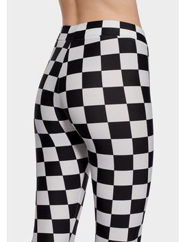 Checkerboard Print Leggings by Versace